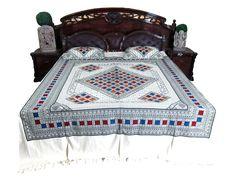 Indian Bedding White Bedspread Cotton Bedcover 2 Pillow Covers, Spa Decor: Amazon.com: Home & Garden