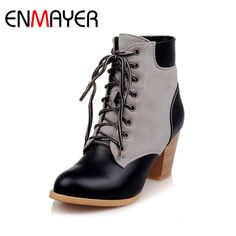 ENMAYER Fashion Boots Solid  Shoes Pointed Toe Ankle Boots Square Heel Black Yellow Color Lace-up Shoes Women Big Size 34-43