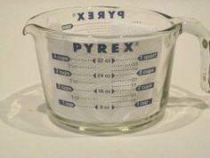 Pyrex Prepware Measuring Cup, Clear with Blue Measurements by pyrex. $3.74. Pyrex glass is non-porous, so it won't absorb food odors, food flavors or food stains. Dishwasher safe, yet best to wash by hand since, over time, dishwashers can affect measurement markers. Made in the U.S.A.. Renowned Pyrex glass measuring cups are fantastic prep tools in any kitchen. Ergonomically designed handles. These are direct from the Factory in Western PA.  Handmade in America...