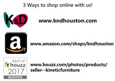 There are 3 different ways to shop K&D online. We have our beloved store front in Houston, TX, but we know that it's not accessible to everyone. You can shop online in the comfort of your own home! Check out our website http://www.kndhouston.com for our complete collection, or shop us on Amazon http://www.amazon.com/shops/kndhouston and Houzz https://www.houzz.com/pho…/products/seller--kineticfurniture for some of our select pieces. Happy Shopping! #houston #texas #modern #home #contemporary…