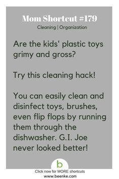 Cleaning and Organization Shortcuts Try this toy cleaning trick. Get your daily source of awesome life hacks and parenting tips! CLICK NOW to discover more Mom Hacks.