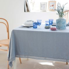 Blue Jacquard Cotton Napkin and Tablecloth
