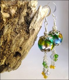 Butterfly Wing Dichroic Glass and Swarovski Crystal Silver Earrings  | specialtivity - Jewelry on ArtFire