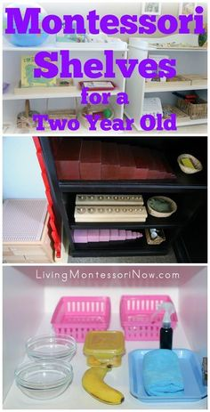 Montessori shelves work perfectly at home for toddlers and preschoolers. Here's an example of Montessori shelves and environment for a 2 year old; post includes links to many resources along with the Montessori Monday permanent collection.