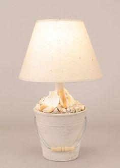 Cottage Lamp White Beach Bucket Full of Shells