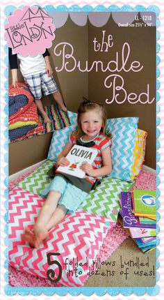 The Bundle Bed - sew together this cute cover and stuff in 5 pillows. What a fun nap or lounging mat!   xox