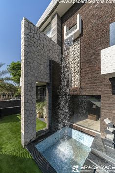 World Architecture Community News - The Waterfall House by Space Race Architects, Jalandhar, India House Architecture Styles, Indian Architecture, Amazing Architecture, Contemporary Architecture, Architecture Design, Waterfall House, House Elevation, Front Elevation, Space Race