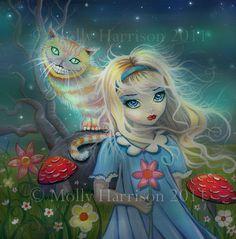Alice in Wonderland Giclee Print Fairytale Art by MollyHarrisonArt