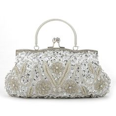 TopTie Beaded Flower Clutch, Silver Evening Handbag, Gift Idea (145 DKK) ❤ liked on Polyvore featuring bags, handbags, clutches, beaded clutches, beaded evening bags, silver evening handbag, purse clutches and silver handbags