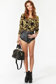 Black and gold baroque top