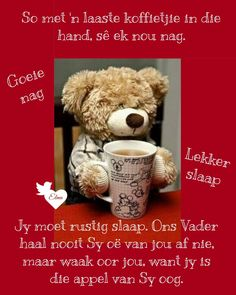 Goeie Nag, Goeie More, Good Night Quotes, Special Quotes, Sleep Tight, Afrikaans, Cute Quotes, Teddy Bear, Mornings