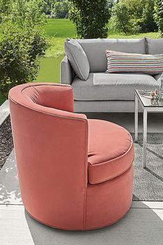 Modern outdoor swivel chair Chair And Ottoman, Swivel Chair, Tub Chair, Modern Outdoor Furniture, Modern Chairs, Lounge Seating, Outdoor Seating, Marine Grade Plywood, Coral Fabric