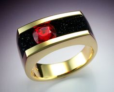 18k gold man's ring with Red Spinel and Black Druse. $7,100.00, via Etsy.