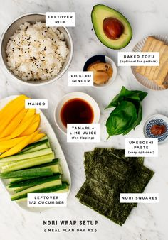 Cucumber Mango Nori Wraps with spicy mayo make a healthy and light weeknight dinner. Just like sushi, but without the work of rolling. Sushi Recipes, Wrap Recipes, Asian Recipes, Whole Food Recipes, Vegetarian Recipes, Cooking Recipes, Healthy Recipes, Vegetarian Ramen, Vegan Foods