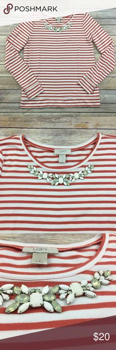 Loft orange stripe top with jewel neckline Ann Taylor Loft Orange stripe top with faux necklace jewel neckline. Good co dion. Measures about 38 inches around the bust and is about 25 inches long. LOFT Tops Tees - Long Sleeve
