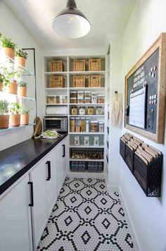 The flooring for this walk-in pantry is amazing. Walk in pantry organization in k … The flooring for this walk-in pantry is amazing.walk in pantry organization in kitchen, black and white cottage kitchen design with black and white tile floor, command cen Kitchen Butlers Pantry, Pantry Room, Kitchen Pantry Design, Walk In Pantry, Butler Pantry, Kitchen Decor, Kitchen Ideas, Kitchen Cabinets, Kitchen Designs