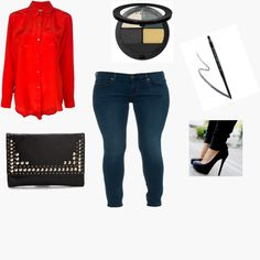 Red is bold and cool for an outfit the pub! Styled by Aries on WiShi.me (where friends style friends for upcoming events) Follow our styling boards for all the inspiration you need for any event!
