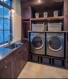Love this laundry room! The window really helps op - http://myshabbychicdecor.com/love-this-laundry-room-the-window-really-helps-op/