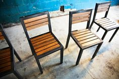 Huff Chair, From Modern American Design (Etsy).  Structural steel and American red oak.  Yum.