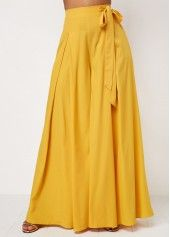 Hot New Fashion Long Wide Pants with Butterfly Knot Dresses Yellow Wide Pants, Loose Pants, Trouser Pants, Culotte Pants, Denim Pants, Hot Pants, Pantalon Long, Knot Dress, Suede Skirt