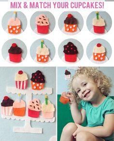A felt wall - then accessories!  Cupcake Activity Felt Board Set. $20.00, via Etsy.