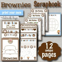 Girl Scouts: Brownies Scrapbook!!! 12 unique pages! Print your own!