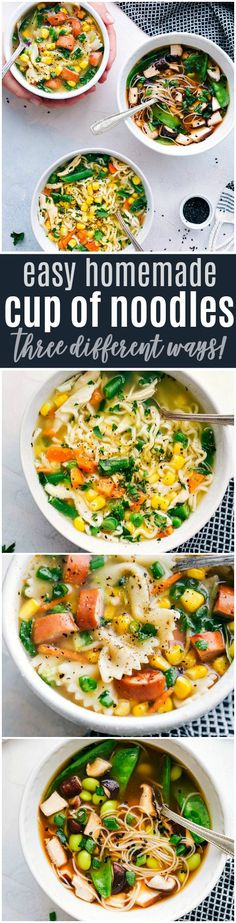Easy and healthy homemade CUP OF NOODLES: three different ways! Recipe via chelseasmessyapron.com | #cupofnoodles #homemade #easy #quick #edamame #chicken #noodle #soups #soup #healthy #heart #kidfriendly