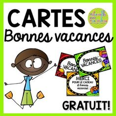 FREE French cards for the end of the year – Bonnes vacances! French Teaching Resources, Teaching French, Kindergarten Activities, Activities For Kids, Cadeau Parents, Core French, Free In French, French Teacher, Ways Of Learning