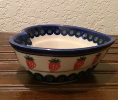 Polish Pottery Heart-Shaped Bowl by MimisMiniMarketplace on Etsy