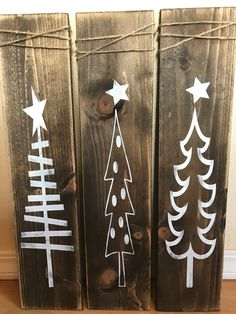 Rustic White Wooden Christmas Tree Signs – Christmas Decor – Rustic X-mas Decor – Farmhouse Decor – Rustic Decor – Wood Decor – Best Holiday Farmhouse Christmas Decor, Rustic Farmhouse Decor, Rustic Decor, Rustic Signs, Rustic Christmas Crafts, Rustic Crafts, Farmhouse Chic, Christmas Projects, Holiday Crafts