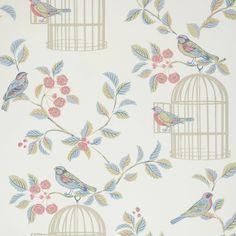 Shabby Chic Eau De Nil Song Bird #Wallpaper - http://www.aldiss.com/brands/iliv/_270853/shabby-chic-eau-de-nil-song-bird-wallpaper?rangeImage=true