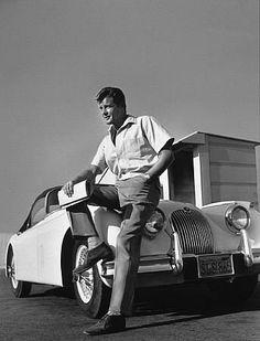 Roger Moore and his Jaguar XK 150