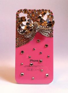 Bling Rhinestone Pink Phone Case Jewel Bow for iPhone 4/ 4S. $29.00, via Etsy- want!