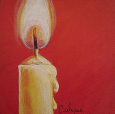 Original painting Yellow Candle. $35.00, via Etsy.