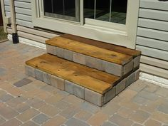DIY Stairs! - interesting... kinda like the combo of bricks and wood....