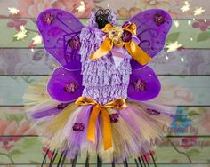 Tutu Romper Wings Outfit Set Purple Gold Lavender Little Baby