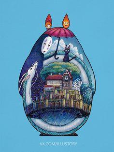 Totoro by Studio Ghibli. Studio Ghibli Films, Art Studio Ghibli, Studio Ghibli Tattoo, Hayao Miyazaki, Chihiro Y Haku, Tattoo Spirit, Animes Wallpapers, Howls Moving Castle, Disney Tattoos