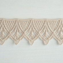 #Organic #lace #trim  48 mm wide natural ecru cotton colour undyed, fancy swag drop www.lancasterandcornish.com #bridal #wedding #trim #lampshade #dressmaking #sewing #millinery #lingerie