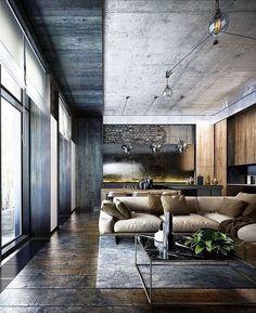 Haus Interieu Design, Haus Bungalow, Industriedesign, Skandinavisches Design,  Moderne Häuser, Wohnraum