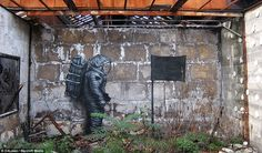 In a departure from his normal style, the artist painted an astronaut planting a flat on the moon on the wall of this abandoned and overgrown building in Paris