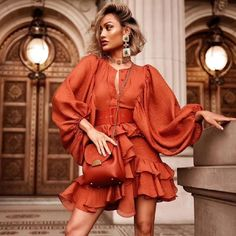 Style : Casual Color : Bronze ,Apricot Material : Polyester, Spandex Occasion : Evening Party, Nightclub, Cocktail, Runway The post Sexy Sashes Lantern Sleeve Cascading Ruffle Elegant Dress appeared first on Power Day Sale.