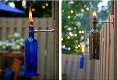 botellas - antorchas de jardin