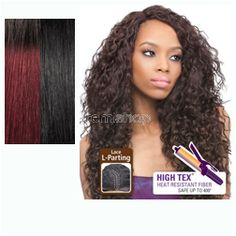 Batik Bundle Hair Lace Front Peruvian  - Color DRB425/1 - Synthetic (Curling Iron Safe) Invisible L-Part Lace Front - Closed Invisible L-Part