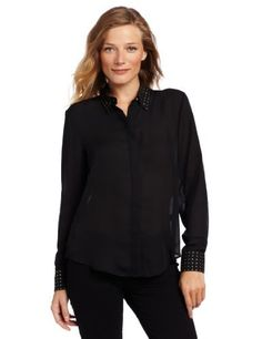 Vince Camuto Women's Embellished Collar & Cuff Button Down Blouse Vince Camuto. $59.42. Machine Wash. Made in China. Long sleeves. Hidden button-up placket. The classic blouse gets glitz from subtle studding on the collar and cuffs of this Vince Camuto find.. polyester