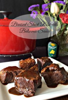 Braised Short Ribs with Balsamic Sauce. What incredible flavor the sauce has. Tangy, sweet to go along with falling off the bone tender short ribs.