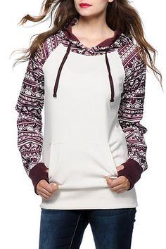 National Wind Print Drawstring Hooded Sweatshirt