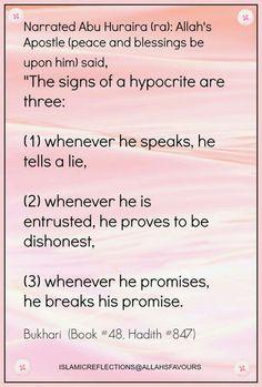 Signs of the munafiq Alhamdulillah, Hadith, Hindi Quotes, Islamic Quotes, Urdu Love Words, Beautiful Prayers, Islamic World, English Quotes, Deen