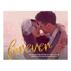 Dreamlike Gold Forever Photo Save the Date Postcard - photo gifts cyo photos personalize