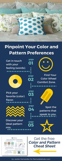 How to choose colors and patterns you'll love in your home -- 5 questions to ask yourself plus a FREE worksheet to walk you through it and make it easy.