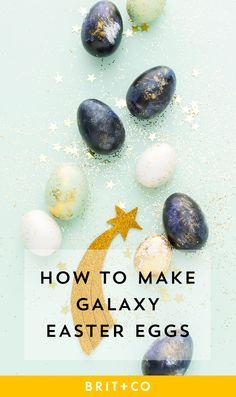 Save this Easter egg decor idea to make a galaxy-inspired dozen.